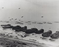 Barrage balloons and shipping at Omaha Beach during the Allied amphibious assault Fine Art Print