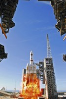 A Delta IV Heavy Launch Vehicle launches from Vandenberg Air Force Base - various sizes
