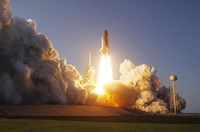 Space Shuttle Discovery lifts off from its Launch Pad at Kennedy Space Center, Florida - various sizes