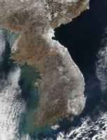 Satellite View of Snowfall Along South Korea's East Coast Fine Art Print