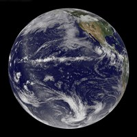 Satellite Image of Earth Centered Over the Pacific Ocean - various sizes