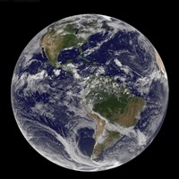 Full Earth Showing North America and South America with clouds - various sizes, FulcrumGallery.com brand