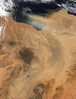 Satellite View of a Dust Storm over Libya Fine Art Print