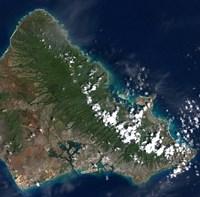 Satellite view of Honolulu, Oahu, Hawaii - various sizes
