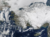 Satellite view of the Republic of Turkey covered by Snow - various sizes