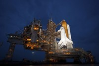 Night view of Space Shuttle Atlantis on the Launch pad at Kennedy Space Center, Florida - various sizes