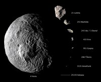 Digital Composite Showing the Comparative Sizes of Nine Asteroids Fine Art Print