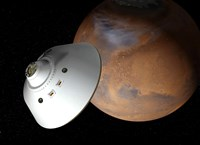 Artist's Concept of an Aeroshell-Encased Spacecraft Approaching Mars - various sizes