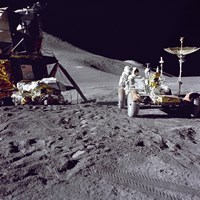 Apollo 15 Astronaut Loads the Lunar Rover with Tools and Equipment Fine Art Print