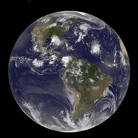 Full Earth Showing Tropical Storms in the Atlantic Ocean - various sizes