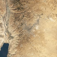 Natural-color Satellite view of Amman, Jordan Fine Art Print