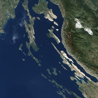 Satellite view of the Croatian Islands in the Adriatic Sea - various sizes