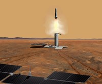 Concept of an Ascent vehicle Leaving Mars - various sizes