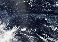 Satellite view of fog and ash from the Ambrym Volcano - various sizes