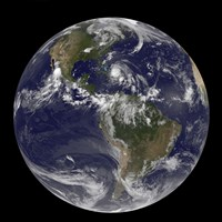 August 24 - Satellite view of the Full Earth with Hurricane Irene visible over the Bahamas, 2011, 2011 - various sizes