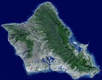 Satellite Image of Oahu, Hawaii - various sizes