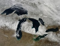 Satellite View of Snow Across Wisonsin, Michigan and Canada Fine Art Print