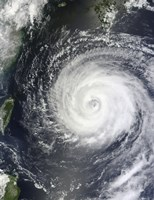 Typhoon Muifa east of Taiwan in the Pacific Ocean - various sizes