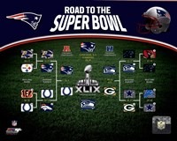 New England Patriots Road the Super Bowl Super Bowl XLIX Champions Bracket Fine Art Print