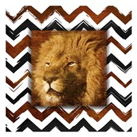 """Lion with Chevron Border by Jace Grey - 13"""" x 13"""", FulcrumGallery.com brand"""
