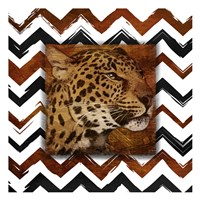 "Cheetah with Chevron Border by Jace Grey - 13"" x 13"", FulcrumGallery.com brand"