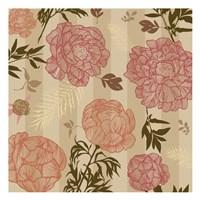 Vintage Floral Stripe set 01 Fine Art Print