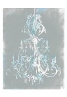 "Blue Grey Chandelier by OnRei - 13"" x 19"""