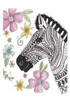 Tribal Zebra Portrait Fine Art Print