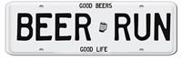 Beer Run License Plate Framed Print