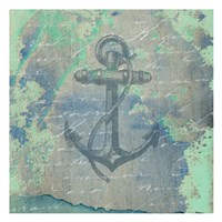 """Nautical Watercolor by Sheldon Lewis - 13"""" x 13"""", FulcrumGallery.com brand"""