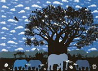 Elephant Herd and Cloudy Sky Fine Art Print