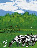 Zebras in the Savanna Fine Art Print