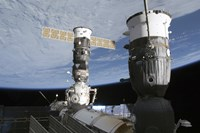 Russian Soyuz and Progress Spacecrafts Docked to the International Space Station - various sizes