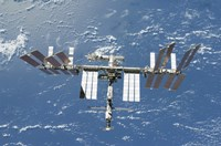 International Space Station Backdropped by a Blue and White Part of Earth - various sizes - $30.99