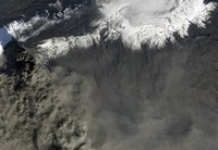 Satellite view of an Ash Plume Rises from Iceland's Eyjafjallajokull Volcano - various sizes