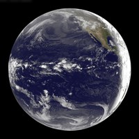 Satellite view of Earth Centered Over the Pacific Ocean - various sizes