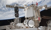 The Mini Research Module 1 attached to the International Space Station - various sizes
