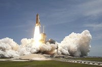 Space shuttle Atlantis rumbles the Space Coast as it lifts off from Kennedy Space Center's Launch Pad 39A - various sizes