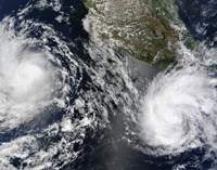 Tropical Storms Blas and Celia Circulate in Close Proximity to Each other in this Satellite view - various sizes