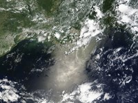 Satellite view of Streaks and Ribbons of Oil Brighten the Reflection of the Sun off the Gulf of Mexico - various sizes