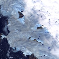 A Small Field of Glaciers Surrounds Baffin Bay along Greenland's Western Coast - various sizes