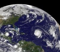 Three Tropical Cyclones Active in the Atlantic Ocean Basin - various sizes
