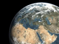 Global view of earth over Europe, Middle East, and Northern Africa - various sizes