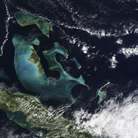 Satellite view of the Bahama Islands in the Atlantic Ocean - various sizes, FulcrumGallery.com brand