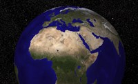 Global view of Earth over North Africa, Europe, the Middle East, and India - various sizes