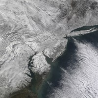 Satellite view of a Nor'easter Snow Storm over the Mid-Atlantic and Northeastern United States - various sizes