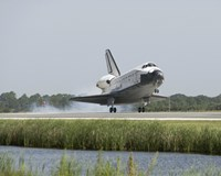 Space Shuttle Endeavour touches down on the runway Fine Art Print