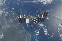 The International Space Station above Earth - various sizes