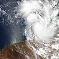 Tropical Cyclone Laurence off the Northwestern Coast of Australia - various sizes