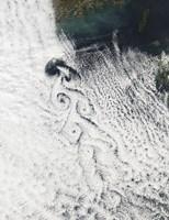 Von Karmann Cloud Vortices off the Coast of Cheju Do - various sizes